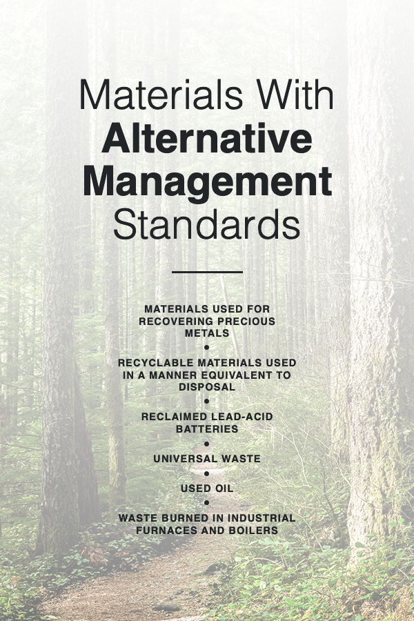 hazardous waste materials with alternative management standards